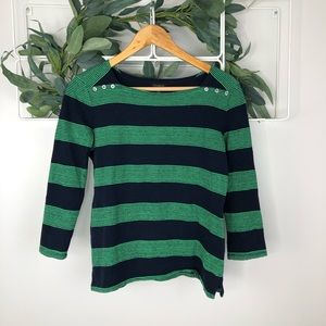 Talbots Blue and Green 3/4 Sleeve Blouse